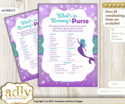 Sea Mermaid What is in Mommy's Purse, Baby Shower Purse Game Printable Card , Purple Teal,  Glitter