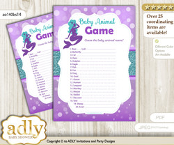 Printable Sea Mermaid Baby Animal Game, Guess Names of Baby Animals Printable for Baby Mermaid Shower, Purple Teal, Glitter