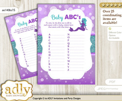 Sea Mermaid Baby ABC's Game, guess Animals Printable Card for Baby Mermaid Shower DIY – Glitter
