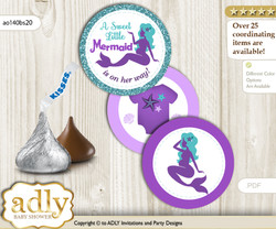 Printable  Sea Mermaid Candy Kisses for Baby Sea Shower DIY Purple Teal , Glitter