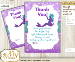 Sea  Mermaid Thank you Cards for a Baby Sea Shower or Birthday DIY Purple Teal, Glitter