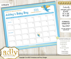 DIY Boy Angel Baby Due Date Calendar, guess baby arrival date game