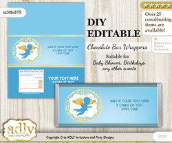 DIY Personalizable Boy Angel Chocolate Bar Candy Wrapper Label for Boy  baby shower, birthday Gold Blue , editable wrappers