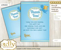 Boy  Angel Thank you Cards for a Baby Boy Shower or Birthday DIY Gold Blue, Heaven