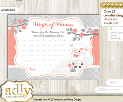 Peach Grey Girl Lamb Words of Wisdom or an Advice Printable Card for Baby Shower, Coral