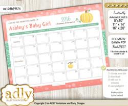 DIY Gold Pumpkin Baby Due Date Calendar, guess baby arrival date game