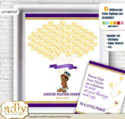 Royal Prince Guest Book Alternative for a Baby Shower, Creative Nursery Wall Art Gift, Purple Gold, African