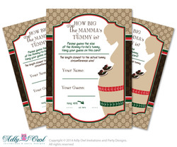 Gucci Boy Fashion Guess Belly Game,   Tummy Guess  game Printable Card for Baby Fashion  Shower DIY Brown Red Gucci