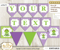 DIY Personalizable Girl Frog Printable Banner for Baby Shower, Green Purple, Polka