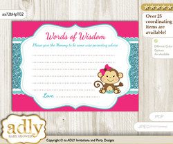 Hot Pink Girl Monkey Words of Wisdom or an Advice Printable Card for Baby Shower, Glitter