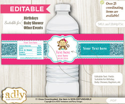 DIY Text Editable Girl Monkey Water Bottle Label, Personalizable Wrapper Digital File, print at home for any event