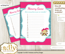 Girl Monkey Memory Game Card For Baby Shower, Printable Guess Card, Hot  Pink,