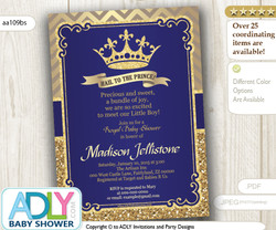 Dark Blue Gold Royal Prince Baby Shower  Digital Invitation with glitter and chevron.