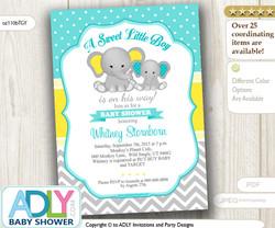 Light Turquoise Grey Yellow Boy Elephant Baby Shower Invitation