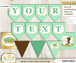 DIY Personalizable African Prince Printable Banner for Baby Shower, Gold, Mint