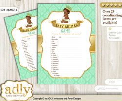 Printable African Prince Baby Animal Game, Guess Names of Baby Animals Printable for Baby Prince Shower, Gold, Mint