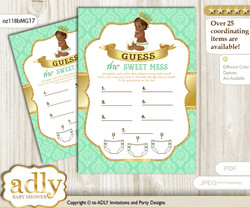 African Prince Dirty Diaper Game or Guess Sweet Mess Game for a Baby Shower Gold, Mint