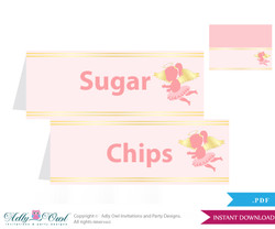 Printable Little Angel Buffet Tags or Food Tent Labels  for a Baby Shower or Birthday , Gold, Pink