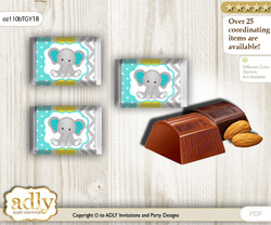 Boy Elephant Chocolate Nuggets Candy Wrapper Label for Baby Boy Shower  Mint Yellow , Grey