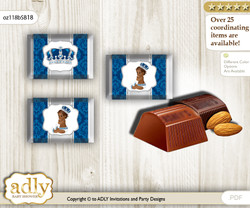 African Prince Chocolate Nuggets Candy Wrapper Label for Baby African Shower  Silver blue , Crown