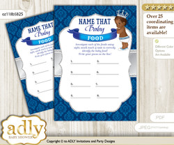 African Prince Guess Baby Food Game or Name That Baby Food Game for a Baby Shower, Silver blue Crown