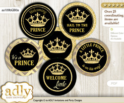 Baby Shower Prince Royal Cupcake Toppers Printable File for Little Prince and Mommy-to-be, favor tags, circle toppers, Crown, Black Gold