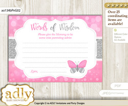 Pink Grey Girl Butterfly Words of Wisdom or an Advice Printable Card for Baby Shower, Summer