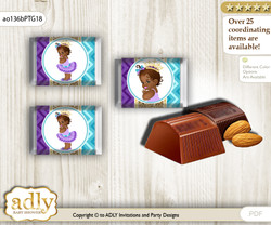 African Princess Chocolate Nuggets Candy Wrapper Label for Baby African Shower  Teal Gold , Royal