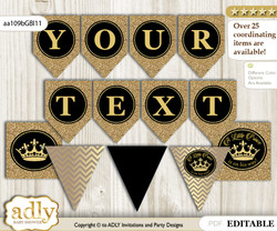 DIY Personalizable Prince Royal Printable Banner for Baby Shower, Black Gold, Crown
