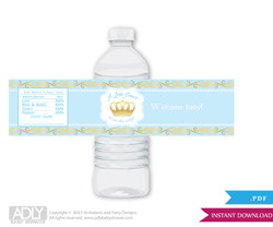 Blue Gold Prince Water Bottle Wrappers, Labels for a  Prince   Baby Shower,  Crown,  Royal