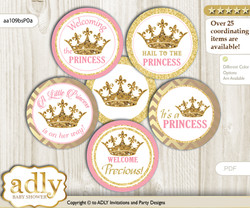Baby Shower Royal Princess Cupcake Toppers Printable File for Little Royal and Mommy-to-be, favor tags, circle toppers, Glitter, pink gold m