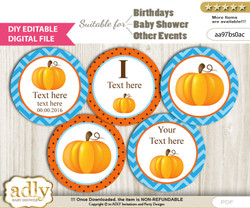 DIY Text Editable Boy Pumpkin Cupcake Toppers Digital File, print at home, suitable for birthday, baby shower, baptism