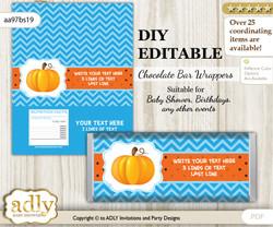 DIY Personalizable Boy Pumpkin Chocolate Bar Candy Wrapper Label for Boy  baby shower, birthday Blue Orange , editable wrappers