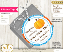 Boy Pumpkin Thank You Tags, Circle Favor Tags Personalizable for Shower, Birthday