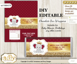 DIY Personalizable Princess Elephant Chocolate Bar Candy Wrapper Label for Princess  baby shower, birthday Gold Burgundy , editable wrappers