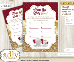 Princess Elephant Guess Baby Food Game or Name That Baby Food Game for a Baby Shower, Gold Burgundy Peanut