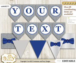 DIY Personalizable Boy Bow tie Printable Banner for Baby Shower, Blue Grey, Silver