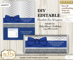 DIY Personalizable Boy Bow tie Chocolate Bar Candy Wrapper Label for Boy  baby shower, birthday Blue Grey , editable wrappers