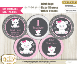 DIY Text Editable Girl Polar Bear Cupcake Toppers Digital File, print at home, suitable for birthday, baby shower, baptism