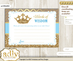 Blue Gold Royal Prince Words of Wisdom or an Advice Printable Card for Baby Shower, Crown v