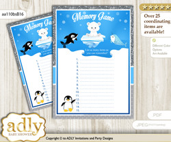 Boy Arctic Memory Game Card for Baby Shower, Printable Guess Card, Blue Silver, Winter