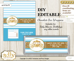 DIY Personalizable Prince Carriage Chocolate Bar Candy Wrapper Label for Prince  baby shower, birthday blue gold , editable wrappers