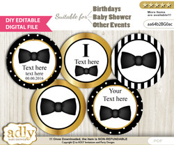 DIY Text Editable Boy Bow Tie Cupcake Toppers Digital File, print at home, suitable for birthday, baby shower, baptism mn