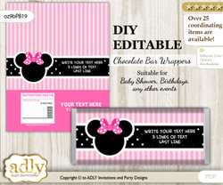 DIY Personalizable Girl Minnie Chocolate Bar Candy Wrapper Label for Girl  baby shower, birthday Pink Black , editable wrappers