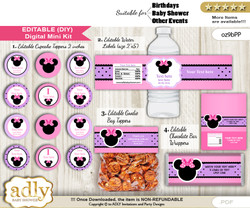 DIY Text Editable Girl Minnie Baby Shower, Birthday digital package, kit-cupcake, goodie bag toppers, water labels, chocolate bar wrappers v