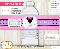 DIY Text Editable Girl Minnie Water Bottle Label, Personalizable Wrapper Digital File, print at home for any event  v