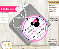 Girl Minnie Thank You Tags, Circle Favor Tags Personalizable for Shower, Birthday v