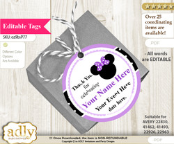 Minnie Mouse Thank You Tags, Circle Favor Tags Personalizable for Shower, Birthday b