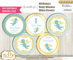 DIY Text Editable Boy Angel Cupcake Toppers Digital File, print at home, suitable for birthday, baby shower, baptism v