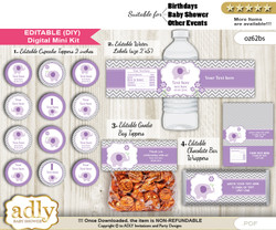 DIY Text Editable Girl Elephant Baby Shower, Birthday digital package, kit-cupcake, goodie bag toppers, water labels, chocolate bar wrappers b
